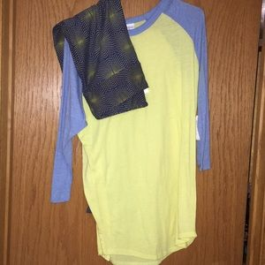 LLR Navy TC Leggings with XL Yellow Randy T-Shirt